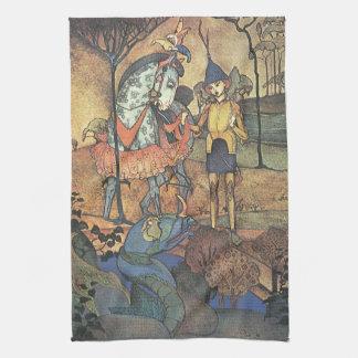 Vintagesaga, en modig riddare och drake kökshandduk
