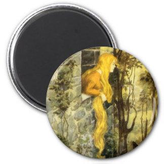 Vintagesaga, Rapunzel med långt blont hår Magnet Rund 5.7 Cm