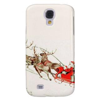 VintageSanta Sleigh och ren i snö Galaxy S4 Fodral