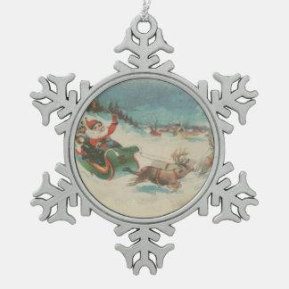 VintageSantas Sleigh och ren Julgransprydnader