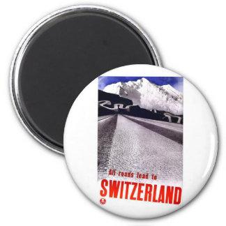 VintageSchweitz vägar Magnet Rund 5.7 Cm