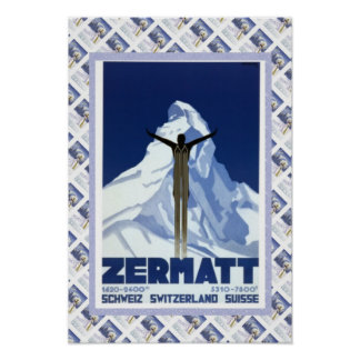 Vintageschweizareaffisch Zermatt Poster