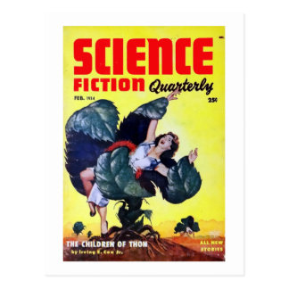 Vintagescience fictionman som äter växter vykort