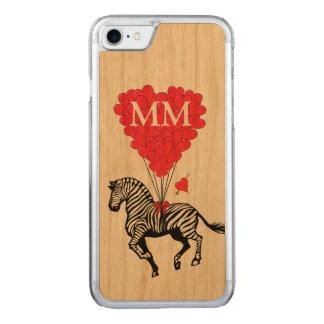 vintagesebra och kärlekhjärta carved iPhone 7 skal