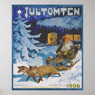 Vintageskandinav 1906 Jultomten i Sleigh