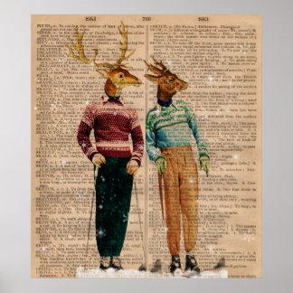 Vintagesnö skidar affischen för konst för hjortord poster