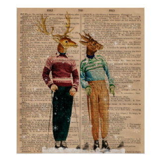 Vintagesnö skidar affischen för konst för poster