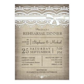 Vintagesnöre & lantlig repetition middag för linne 12,7 x 17,8 cm inbjudningskort