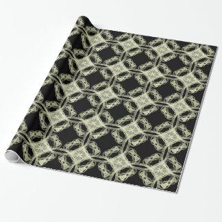 Vintagesnöre på svart slående in papper presentpapper