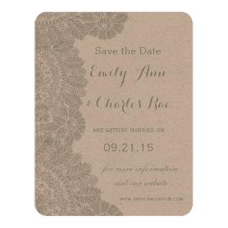 Vintagesnörebröllop spara datum 10,8 x 14 cm inbjudningskort