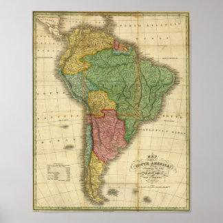 VintageSouth America karta 1826 av Anthony Finley Poster