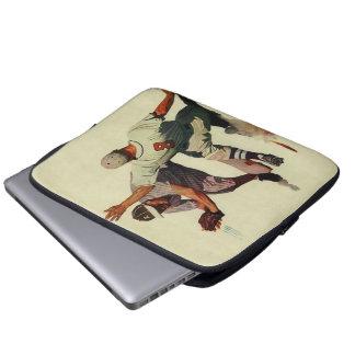 Vintagesportar baseball, spelare som glider in i laptop fodral