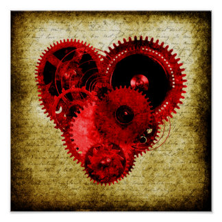 VintageSteampunk hjärta Poster