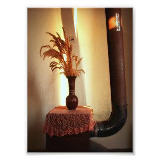 Vintagestilleben (vasen och en ugn) fotografiska tryck