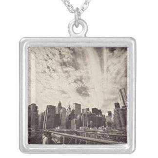 VintagestilNew York City horisont Silverpläterat Halsband