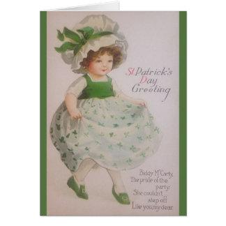 VintageSts Patrick kort för hälsning för dag