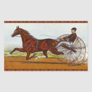 Vintagesulkyhästkapplöpning Rektangulärt Klistermärke