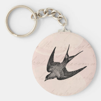 Vintagesvalaillustration - fågel för antikvitet rund nyckelring