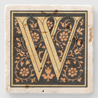 Vintagesvart & guld- brev` W', Underlägg Sten