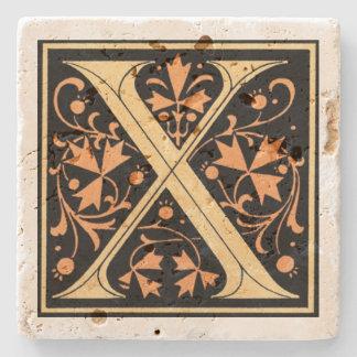 Vintagesvart & guld- brev` X', Stenglasunderlägg