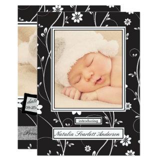 Vintagesvart & vit - födelsemeddelande 12,7 x 17,8 cm inbjudningskort