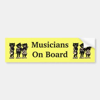 Vintagesvarta katter för musiker ombord bildekal