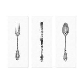 Vintagesvarten & vit dela sig konst för knivarsked canvastryck
