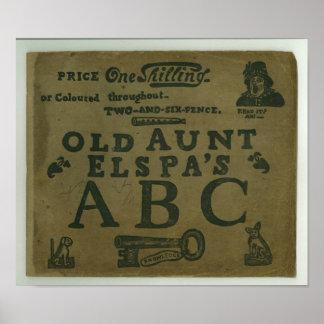 vintageT-tröjabarns gammala ABC för moster Elspas Poster