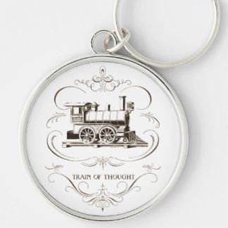 Vintagetåg av tanke rund silverfärgad nyckelring
