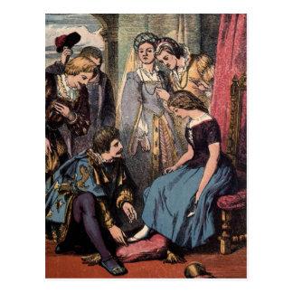 Vintageteckning: Cinderella och princen Vykort