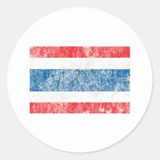 VintageThailand flagga Runda Klistermärken