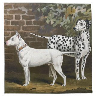 VintagetjurTerrier och Dalmatian hundkonst Tygservett