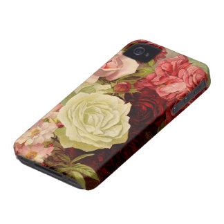 Vintageträdgården steg blommor, kärlek och iPhone 4 Case-Mate skydd