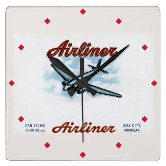 Vintagetrafikflygplancigarren boxas den Retro Fyrkantig Klocka