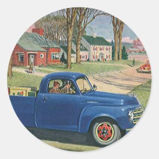 Vintagetransport, klassikerblåttlastbil runt klistermärke