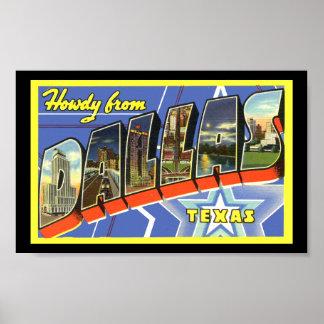 Vintagetryckhälsningar Dallas Texas Poster