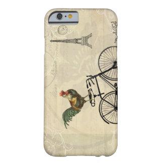 Vintagetupp som rider en cykel vid det Eiffel torn Barely There iPhone 6 Fodral