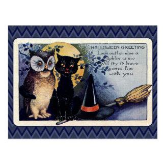 Vintageuggla- och kattHalloween hälsning Vykort