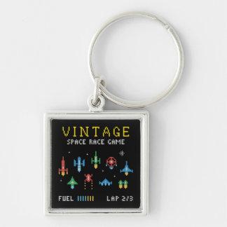 Vintageutrymmevideospel Fyrkantig Silverfärgad Nyckelring