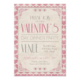 Vintagevalentin party för middag för dag 12,7 x 17,8 cm inbjudningskort
