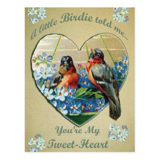 """Vintagevalentinen """"är du min Tweet-Hjärta"""" fåglar Vykort"""