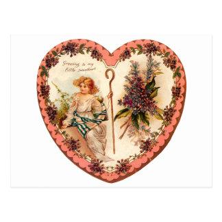 Vintagevalentinhjärta med lila blommor vykort