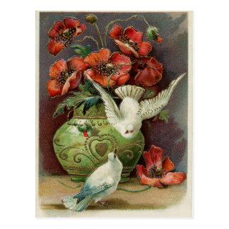 Vintagevallmor & fåglar vykort