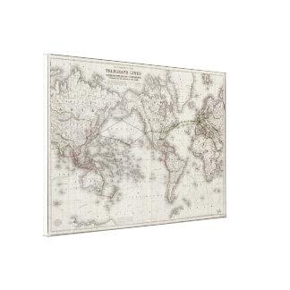 Vintagevärlden telegraferar linjerkartan (1855) canvastryck