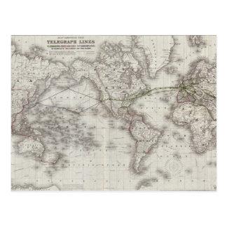 Vintagevärlden telegraferar linjerkartan (1855) vykort