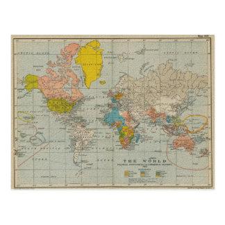 Vintagevärldskarta 1910 vykort