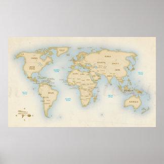 Vintagevärldskarta med länder poster