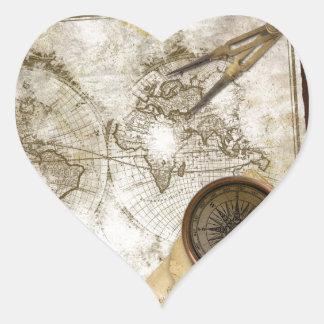 Vintagevärldskarta och verktyg hjärtformat klistermärke