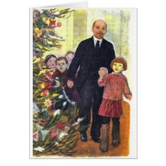 Vintagevattenfärgjul med Lenin Hälsningskort
