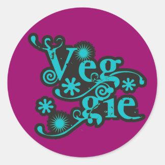 VintageVeggie, för vegetarian och Vegans Runt Klistermärke